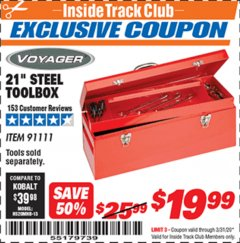 "Harbor Freight ITC Coupon 21"" STEEL TOOLBOX Lot No. 91111 Expired: 3/31/20 - $19.99"