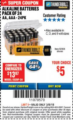 Harbor Freight ITC Coupon ALKALINE BATTERIES Lot No. 92405/61270/92404/69568/61271/92406/61272/92407/61279/92408 Expired: 3/8/18 - $5