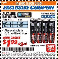 Harbor Freight ITC Coupon ALKALINE BATTERIES Lot No. 92405/61270/92404/69568/61271/92406/61272/92407/61279/92408 Expired: 7/31/18 - $1.99