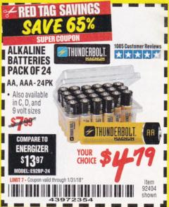 Harbor Freight Coupon ALKALINE BATTERIES Lot No. 92405/61270/92404/69568/61271/92406/61272/92407/61279/92408 Expired: 1/31/18 - $4.79