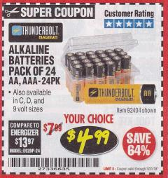 Harbor Freight Coupon ALKALINE BATTERIES Lot No. 92405/61270/92404/69568/61271/92406/61272/92407/61279/92408 Expired: 3/31/18 - $4.99