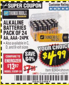 Harbor Freight Coupon ALKALINE BATTERIES Lot No. 92405/61270/92404/69568/61271/92406/61272/92407/61279/92408 Expired: 4/30/18 - $4.99