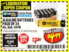 Harbor Freight Coupon ALKALINE BATTERIES Lot No. 92405/61270/92404/69568/61271/92406/61272/92407/61279/92408 EXPIRES: 6/30/18 - $4.99