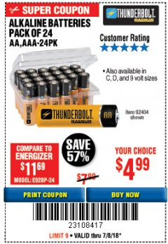 Harbor Freight Coupon ALKALINE BATTERIES Lot No. 92405/61270/92404/69568/61271/92406/61272/92407/61279/92408 Expired: 7/8/18 - $4.99