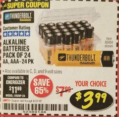 Harbor Freight Coupon ALKALINE BATTERIES Lot No. 92405/61270/92404/69568/61271/92406/61272/92407/61279/92408 Expired: 8/31/18 - $3.99