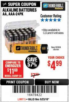 Harbor Freight Coupon ALKALINE BATTERIES Lot No. 92405/61270/92404/69568/61271/92406/61272/92407/61279/92408 Expired: 9/23/18 - $4.99