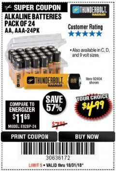 Harbor Freight Coupon ALKALINE BATTERIES Lot No. 92405/61270/92404/69568/61271/92406/61272/92407/61279/92408 Expired: 10/31/18 - $4.99