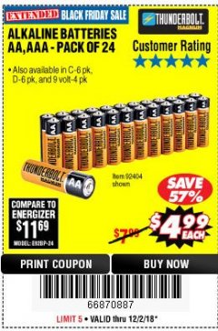 Harbor Freight Coupon ALKALINE BATTERIES Lot No. 92405/61270/92404/69568/61271/92406/61272/92407/61279/92408 Valid Thru: 12/31/18 - $4.99