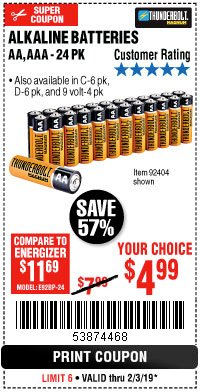 Harbor Freight Coupon THUNDERBOLT MAGNUM ALKALINE BATTERIES AA, AAA - 24 PK Lot No. 92405/61270/92404/69568/61271/92406/61272/92407/61279/92408 Expired: 2/3/19 - $4.99
