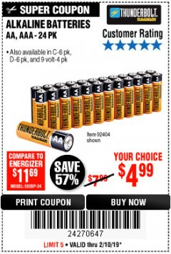 Harbor Freight Coupon THUNDERBOLT MAGNUM ALKALINE BATTERIES AA, AAA - 24 PK Lot No. 92405/61270/92404/69568/61271/92406/61272/92407/61279/92408 Expired: 2/10/19 - $4.99