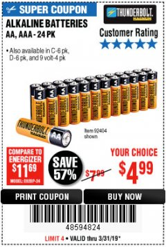 Harbor Freight Coupon THUNDERBOLT MAGNUM ALKALINE BATTERIES AA, AAA - 24 PK Lot No. 92405/61270/92404/69568/61271/92406/61272/92407/61279/92408 Expired: 3/31/19 - $4.99