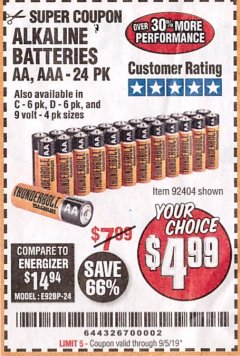 Harbor Freight Coupon THUNDERBOLT MAGNUM ALKALINE BATTERIES AA, AAA - 24 PK Lot No. 92405/61270/92404/69568/61271/92406/61272/92407/61279/92408 Expired: 9/5/19 - $4.99
