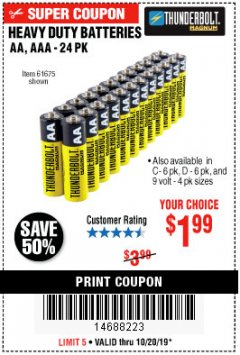 Harbor Freight Coupon THUNDERBOLT MAGNUM ALKALINE BATTERIES AA, AAA - 24 PK Lot No. 92405/61270/92404/69568/61271/92406/61272/92407/61279/92408 Expired: 10/20/19 - $1.99