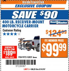 Harbor Freight ITC Coupon 400 LB. CAPACITY RECEIVER-MOUNT MOTORCYCLE CARRIER Lot No. 99721/62837 Expired: 8/14/18 - $99.99