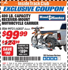 Harbor Freight ITC Coupon 400 LB. CAPACITY RECEIVER-MOUNT MOTORCYCLE CARRIER Lot No. 99721/62837 Expired: 4/30/19 - $99.99