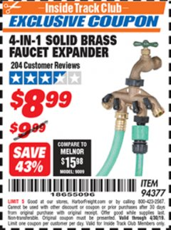 Harbor Freight ITC Coupon 4-IN-1 SOLID BRASS FAUCET EXPANDER Lot No. 94377 Valid Thru: 4/30/19 - $8.99