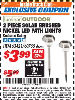Harbor Freight ITC Coupon 2 PIECE SOLAR BRUSHED NICKEL LED PATH LIGHTS Lot No. 60755/63421 Expired: 5/31/18 - $3.99