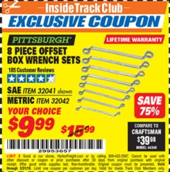 Harbor Freight ITC Coupon 8 PIECE OFFSET BOX WRENCH SETS Lot No. 32041/32042 Valid Thru: 3/31/19 - $9.99