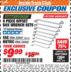 Harbor Freight ITC Coupon 8 PIECE OFFSET BOX WRENCH SETS Lot No. 32041/32042 Expired: 1/31/19 - $9.99