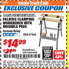 Harbor Freight ITC Coupon FOLDING CLAMPING WORKBENCH WITH MOVABLE PEGS Lot No. 47844 Expired: 5/31/18 - $14.99