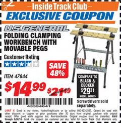 Harbor Freight ITC Coupon FOLDING CLAMPING WORKBENCH WITH MOVABLE PEGS Lot No. 47844 Dates Valid: 6/1/18 - 6/30/18 - $14.99