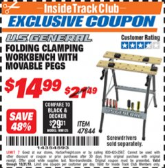 Harbor Freight ITC Coupon FOLDING CLAMPING WORKBENCH WITH MOVABLE PEGS Lot No. 47844 Expired: 10/31/18 - $14.99