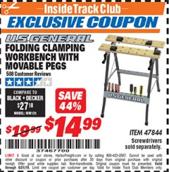Harbor Freight ITC Coupon FOLDING CLAMPING WORKBENCH WITH MOVABLE PEGS Lot No. 47844 Valid Thru: 8/31/19 - $14.99