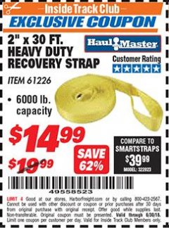 "Harbor Freight ITC Coupon 2"" x 30 FT. HEAVY DUTY RECOVERY STRAP Lot No. 61226 Expired: 6/30/18 - $14.99"