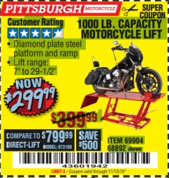 Harbor Freight Coupon 1000 LB. CAPACITY MOTORCYCLE LIFT Lot No. 69904/68892 Expired: 11/10/18 - $299.99