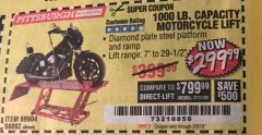 Harbor Freight Coupon 1000 LB. CAPACITY MOTORCYCLE LIFT Lot No. 69904/68892 Expired: 2/5/19 - $299.99