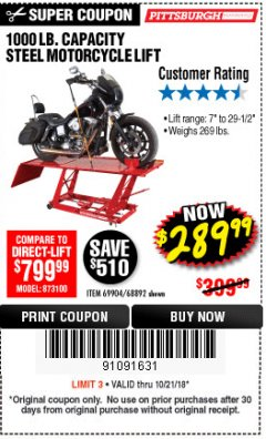 Harbor Freight Coupon 1000 LB. CAPACITY MOTORCYCLE LIFT Lot No. 69904/68892 Expired: 10/21/18 - $289.99