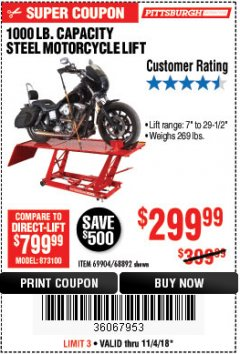 Harbor Freight Coupon 1000 LB. CAPACITY MOTORCYCLE LIFT Lot No. 69904/68892 Expired: 11/4/18 - $299.99