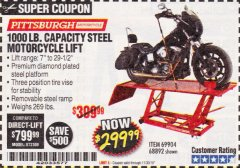 Harbor Freight Coupon 1000 LB. CAPACITY MOTORCYCLE LIFT Lot No. 69904/68892 Expired: 11/30/18 - $299.99