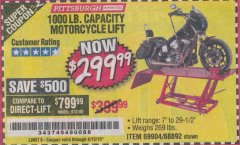 Harbor Freight Coupon 1000 LB. CAPACITY MOTORCYCLE LIFT Lot No. 69904/68892 Valid Thru: 4/13/19 - $299.99
