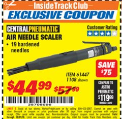 Harbor Freight ITC Coupon AIR NEEDLE SCALER #2 Lot No. 1108/61447 Dates Valid: 12/31/69 - 10/31/18 - $44.99