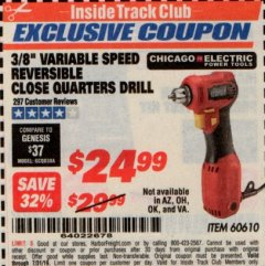 "Harbor Freight ITC Coupon 3/8"" VARIABLE SPEED REVERSIBLE CLOSE QUARTERS DRILL Lot No. 60610/92956 Expired: 7/31/19 - $24.99"