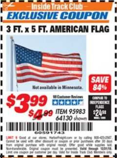 Harbor Freight ITC Coupon 3 FT. x 5 FT. AMERICAN FLAG Lot No. 95983 Valid Thru: 12/31/18 - $3.99