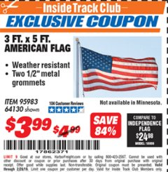 Harbor Freight ITC Coupon 3 FT. x 5 FT. AMERICAN FLAG Lot No. 95983 Dates Valid: 2/1/19 - 2/28/19 - $3.99
