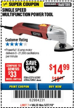 Harbor Freight Coupon MULTIFUNCTION POWER TOOL Lot No. 68861/60428/62279/62302 Expired: 5/27/18 - $14.99