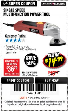 Harbor Freight Coupon MULTIFUNCTION POWER TOOL Lot No. 68861/60428/62279/62302 Expired: 10/21/18 - $14.99