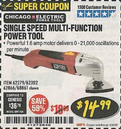 Harbor Freight Coupon MULTIFUNCTION POWER TOOL Lot No. 68861/60428/62279/62302 Expired: 4/30/19 - $14.99