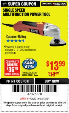 Harbor Freight Coupon MULTIFUNCTION POWER TOOL Lot No. 68861/60428/62279/62302 Expired: 3/17/19 - $13.99