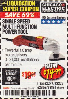 Harbor Freight Coupon MULTIFUNCTION POWER TOOL Lot No. 68861/60428/62279/62302 Expired: 5/31/19 - $14.99