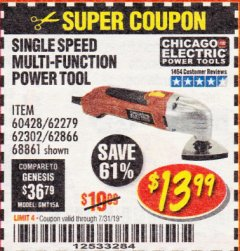 Harbor Freight Coupon MULTIFUNCTION POWER TOOL Lot No. 68861/60428/62279/62302 Expired: 7/31/19 - $13.99