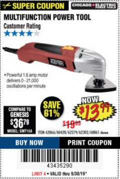 Harbor Freight Coupon MULTIFUNCTION POWER TOOL Lot No. 68861/60428/62279/62302 Valid Thru: 9/30/19 - $13.99