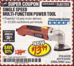 Harbor Freight Coupon MULTIFUNCTION POWER TOOL Lot No. 68861/60428/62279/62302 Valid Thru: 10/31/19 - $13.99