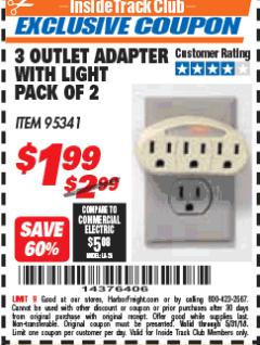 Harbor Freight ITC Coupon 3 OUTLET ADAPTER WITH LIGHT PACK OF 2 Lot No. 62346/95341 Expired: 5/31/18 - $1.99