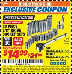"Harbor Freight ITC Coupon 20 PIECE 3/8"" DRIVE HIGH VISIBILITY SOCKET SETS Lot No. 63465/41723/67999/63463 Expired: 6/30/18 - $14.99"
