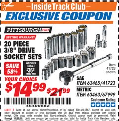 "Harbor Freight ITC Coupon 20 PIECE 3/8"" DRIVE HIGH VISIBILITY SOCKET SETS Lot No. 63465/41723/67999/63463 Expired: 11/30/18 - $14.99"