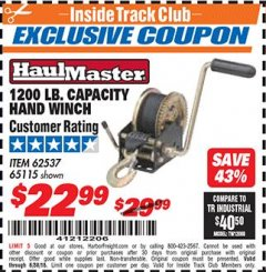 Harbor Freight ITC Coupon 1200 LB. CAPACITY HAND WINCH Lot No. 62537/65115 Expired: 6/30/18 - $22.99